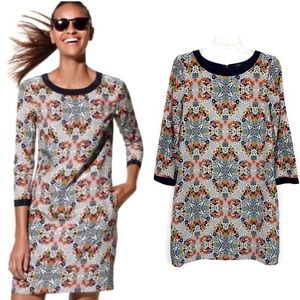 J Crew Silk Misty Fog Floral Shift Dress Size 2